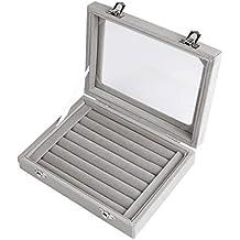 Juanya caja de joyeria joyero organizador con espejo soporte de terciopelo para pendientes collar y anillos-Gris