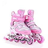 Hoteon Inline Skates Size Adjustable All Pure PU Wheels it has Aluminum-Alloy which