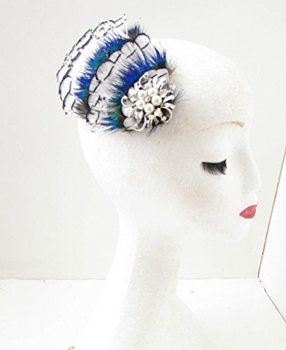 Faisan blanc bleu argent noir vert paon plumes cheveux Clip A87 * * * * * * * * exclusivement vendu par – Beauté * * * * * * * *