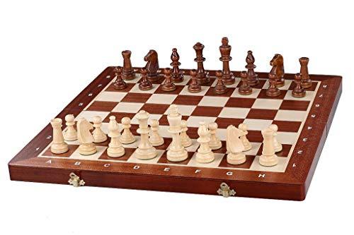 KADAX Turnier - Schachspiel aus hochwertigem Holz, 49 x 49 cm, Schach für Erwachsene, Anfänger, tragbares Schachbrett mit Figuren, Schachkassette, leicht zu transportieren, klappbar