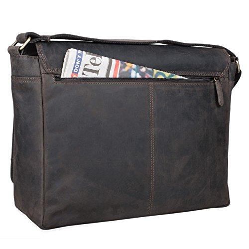 STILORD Borsa a tracolla Messenger Bag Laptop College Bag Borsa per l'università in vera pelle pelle , Colore:marrone scuro marrone scuro