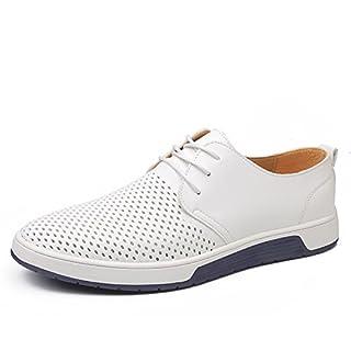 Herren Freizeit Schuhe Aus Leder Business Anzugschuhe Mesh Atmungsaktiv Lederschuhe Oxford Halbschuhe Zum Schnürer Flache Slipper für Party Hochzeit Weiß Übergrößen 39