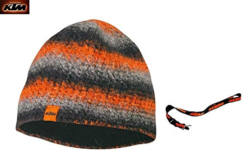 Beanie Mütze Orange Schwarz Grau Wollmütze Innenfutter Fleece + Key Holder