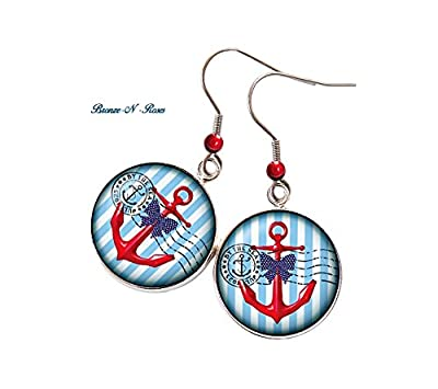 Boucles d'oreilles * Ancre Marine * cabochon verre acier la mer bleu plage