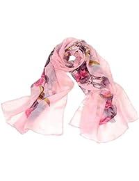 TOOGOO(R)Birds & Blooms pattern fashion chiffon printing scarf (Rose Red)