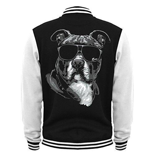 Uomini e uomo giacca Baseball American Staffordshire Terrier Summer (con retro stampa) Schwarz/Weiß S