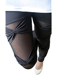 Housweety Legging pantalon Collant Noir Sexy Femme Taille Libre-Femme/Fille Moderne - Automne/Hiver- Elastique -Toutes Les Occasions