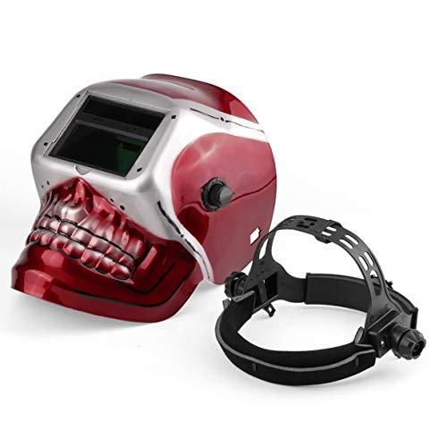 Solarbetriebene Pro Auto Verdunkelung Schweißhelm Arc Tig Mig Maske Schleifen Schweißmaske mit Red Skull Pattern
