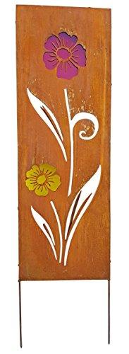 Fachhandel-Plus Gartenschild Metall eckig Rostoptik Blumenmotiv Dekostele Gartenstecker Auswahl,...