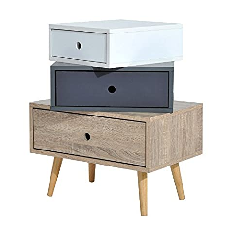 HOMCOM Modern Multi-Drawers Cabinet Side Table Bedroom Storage Organizer (3 Drawers)