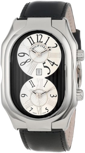 Philip Stein Men's 'Prestige' Swiss Quartz Stainless Steel and Leather Dress Watch, Color:Black (Model: 12-VBW-CISB)