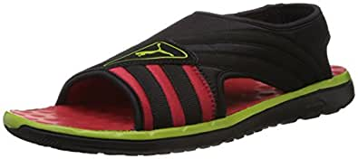 Puma Men's Dark Shadow, Limepunch and High Risk Red Athletic & Outdoor Sandals - 7 UK/India (40.5 EU)