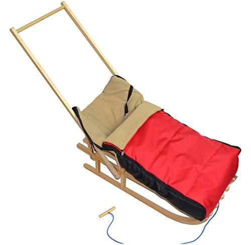 Traîneau en bois avec chancelière polaire, dossier, poignée de guidage, glissières - disponible en plusieurs couleurs, Rot