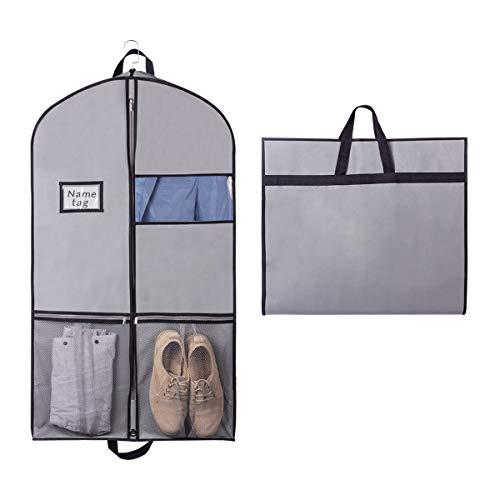 Syeeiex Kleiderhülle mit Netztasche, transparentes Fenster, robuster Reißverschluss für Anzug, Smoking und Tanz-Socken, Hut, Organizer, 1 Stück (109 cm x 60 cm x 9 (Tuxedo 4 Stück Kostüm)