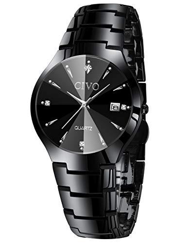Herrenuhren Herren Edelstahl Schwarz Klassische Luxus Analog Quarz Uhren Business Datum Kalender Mode Kleid Klassische Einfache Designer Uhren für Männer - Männer Zum Uhren Verkauf