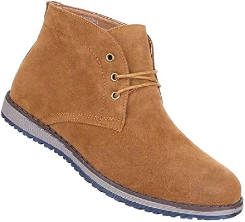 Herren Boots Schuhe Schnürer Stiefeletten Schwarz Blau Camel 36 37 38 39 40 41