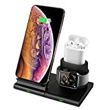 Hoidokly 3 en 1 Chargeur Sans Fil 10W Chargeur à Induction Rapide pour iWatch AirPods, Apple Watch 4/3/2/1, iPhone 11/11 Pro/11 Pro Max/XS/X, Samsung Galaxy S10/S9/S8/S7/Note 8 et Autres Téléphones Qi