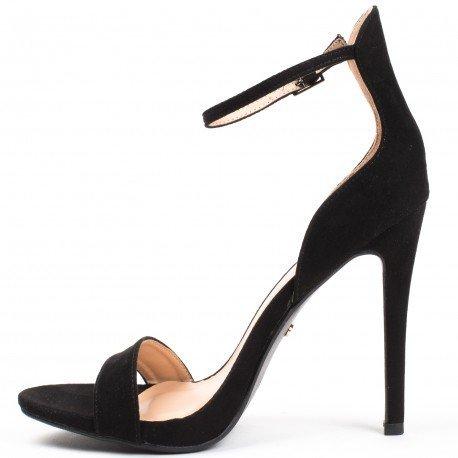 Ideal Shoes - Sandales à talons ouvertes et effet daim Sara Noir