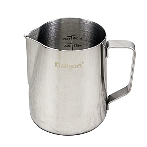 Dailyart Milk Jug Milk Cup Milk Frothing Pitcher, Stainless Steel (30oz (900ml))