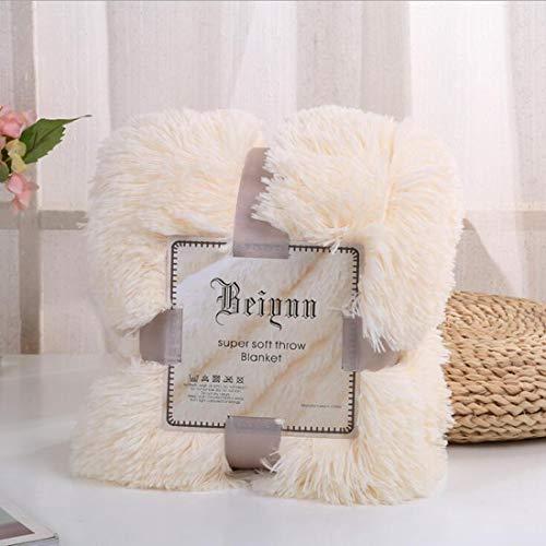 FUBULECY Super Weiche Lange Shaggy Warme Plüschdecke Werfen Qulit Gemütliche Couch Decke für Schlafzimmer Sofa Boden (Farbe : Milk White, Size : 63