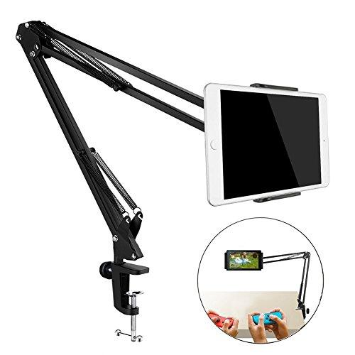 Tablet Ständer, 360° Drehstuhl Lazy Tablet Halterung mit stabilem Aluminium Arm für iPad iPhone Serie/Nintendo Schalter/Samsung Galaxy Tabs/Amazon Kindle Fire HD und Mehr, 32in Länge (Schwarz) -