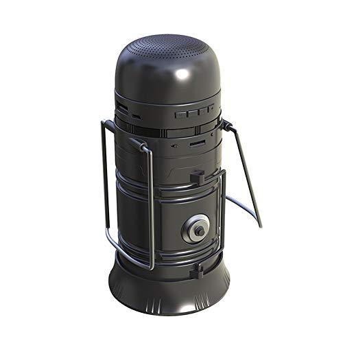 NFY Solar Powered Camping Lantern Bluetooth Speaker, Portable Boombox Wireless Lautsprecher Subwoofer mit Power-Bank-Taschenlampe LED TF FM Input Für zu Hause im Freien,Black