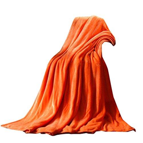 HARRYSTORE Warm Vlies Decke Super Weich Solide Warm Mikro Plüsch Fleecedecke Werfen Teppich Sofa Bettwäsche-45 * 65CM (Orange) (Werfen Orange Plüsch)