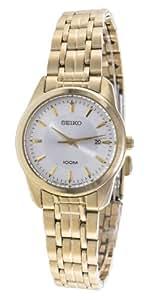 Seiko - SXDE72 - Montre Femme - Quartz Analogique - Cadran Gris - Bracelet Acier plaqué Doré