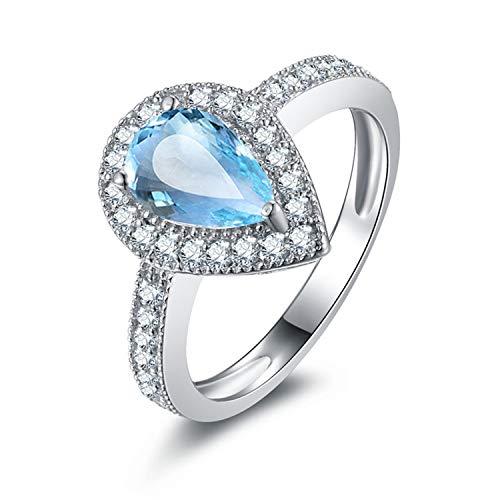 Gnzoe gioielli - anello di argento bianco donna, anello di promessa anniversario fidanzamento, topazio blu misura 15