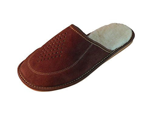 Chaussons en daim pour homme, pantoufles avec semelles orthopédiques ou laine futter. couleurs différentes Marron - Dunkelbraun (Wolle Futter)