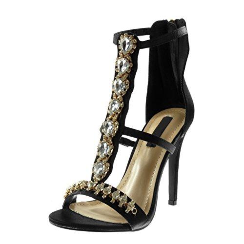 Angkorly - scarpe moda decollete con tacco sandali stiletto alti cinturino donna strass gioielli multi-briglia tacco stiletto alto 11 cm - nero b7799 t 39