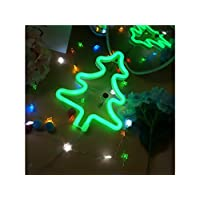 LED Christmas Tree Neon Signs Christmas Tree Lamp up Signs Wall Lights Battery and USB Operated Neon Lamps Room Decor Romantic