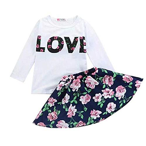 Abbigliamento per bambini, fittingran gioco ragazze amore lettere stampate maniche gonna floreale (marina militare, 6-7 anni)
