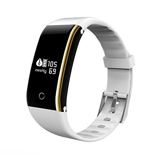XINGDDOZ Fitness Tracker mit Herzfrequenz Blutdruck,Wasserdicht IP67 Fitness Armband Pulsuhren Aktivitätstracker Bluetooth Smart Armband Schrittzähler für iOS und Android Handys (Weiß)