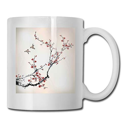 Jolly2T Funny Ceramic Novelty Coffee Mug 11oz,Cherry Branches Flowers Buds and Birds Asian Style Artwork with Painting Effect Theme,Unisex Who Tea Mugs Coffee Cups,Suitable for Office and Home
