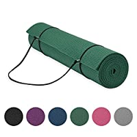 """Gaiam Essentials Premium Yoga Mat with Yoga Mat Carrier Sling, Green, 72"""" L x 24"""" W x 1/4 Inch Thick"""