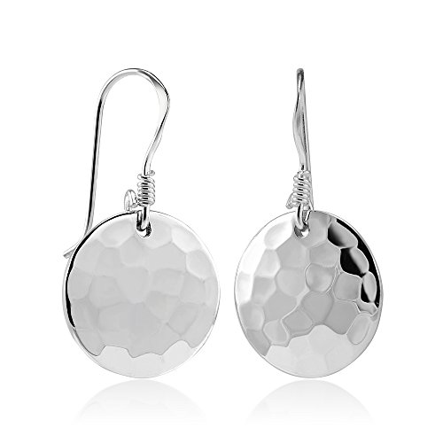 925-sterling-silver-hammered-round-disc-drop-earrings