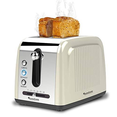 2 Scheiben Langschlitz Toaster mit 850W, Aufwärm- / Auftaufunktion, inkl. Brötchenaufsatz Krümelschublade, Retro Design