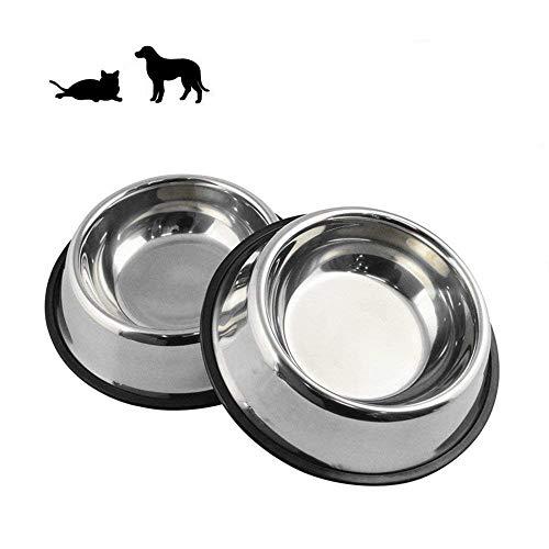 Kuiji Hundeschale aus Edelstahl,Gummibasis für Kleine und Mittlere Feeder für Haustier Hund Katze,Haustiere Feeder Bowl und Wasser Schüssel Perfekte Wahl (2er Set) (S)