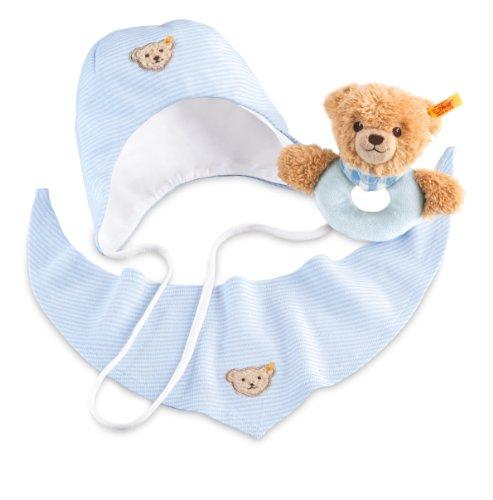 Steiff 239793 - Geschenkset Schlaf Gut Bär Greifring, blau