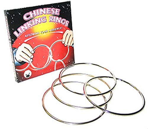 Chinese Linking Rings - Das Wunder der verketteten Ringe | Zaubertricks mit deutschsprachiger Anleitung | Set aus 4 Ringen zum Zaubern - 13,5cm Durchmesser | Ringverkettung Zaubertrick Zauber-Artikel