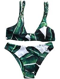 Irina007 Bikini Mujer Conjunto Hojas Atractiva Para Traje De Baño De Cuerda Push-Up De Baño (Verde, Medium)
