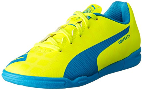 Puma evoSPEED 5.4 IT Jr, Unisex-Kinder Hallenschuhe, Gelb (safety yellow-atomic blue-white 04), 30 EU (11.5 Kinder UK)