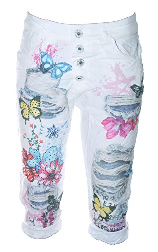 Damen Jeans 5People Chino Shalwar Indian Boyfriend Style ROSEFLEUR American Chain Little Heart Natural Dreamer weiß (S, Bermuda Short Butterfly) -