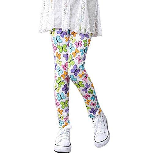 Mädchen Leggings, FNKDOR Baby Kinder Bunt Blume Hosen Silm Fit Leggins (Länge: 80cm; Höhe: 138-145cm, Weiß)