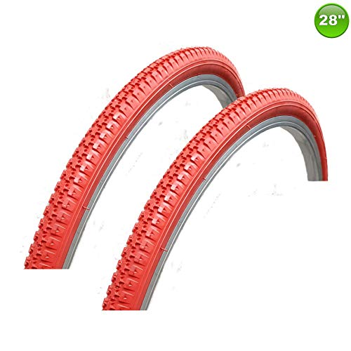 maxxi4you 2 x Fahrradreifen Mantel Decke 28 x 1.75-47-622 Rot