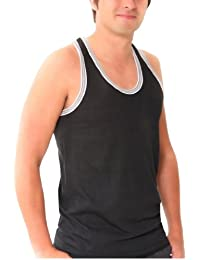 BRITWEAR® Mens Coloured 100% Cotton Fitted Ultra Rib Muscle Gym Top Vest Singlets