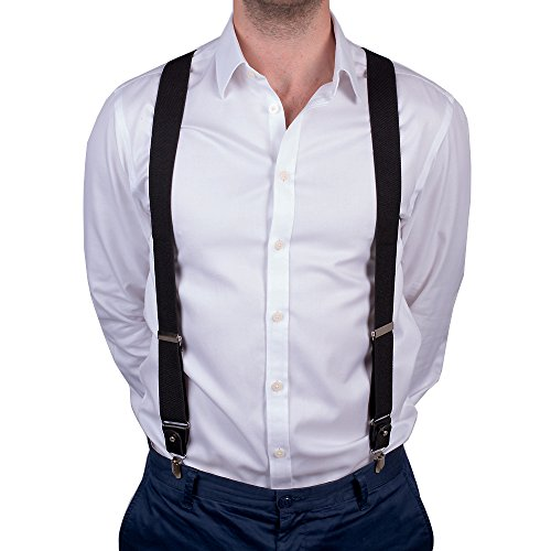 Mens Trouser Braces/Suspenders Heavy Duty Adjustable Y Shaped With Strong Clips and Belt Loops (schwarz) (Kurzen Tan Satz)
