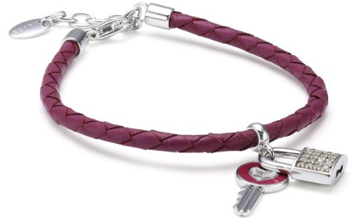 Esprit Damen-Armband secret love special 925 Sterlingsilber Leder rot 24 Zirkonia farblos ca. 17+3 cm S.ESBR91101A170