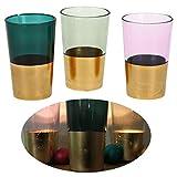 LS-LebenStil 3x Glas Windlicht Teelichthalter Gold Grün Rose Set Teelichtglas